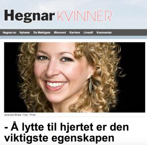 Artikkel in Hegnar Kvinner: Å lytte til hjerte er den viktigste egenskapen